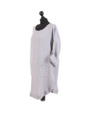 Italian Plain Round Hem Pocketed Linen Lagenlook Top-Silver side