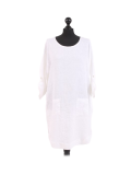 Italian Plain Round Hem Pocketed Linen Lagenlook Top-White