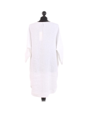 Italian Plain Round Hem Pocketed Linen Lagenlook Top-White back