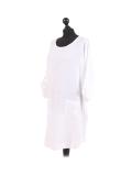 Italian Plain Round Hem Pocketed Linen Lagenlook Top-White side