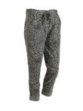 Italian Side Glittery Stripe Leopard Print Stretchable Trouser-Khaki
