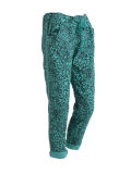 Italian Side Glittery Stripes Leopard Print Magic Pants-aqua