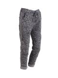 Italian Side Glittery Stripes Leopard Print Stretchable Trouser-Dark grey