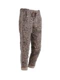 Italian Side Glittery Stripes Leopard Print Stretchable Trouser-Mocha