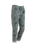 Italian Side Glittery Stripes Leopard Print Stretchable Trouser-Ocean blue