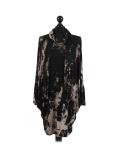 Italian Tie & Dye Plus Size Lagenlook Scarf Dress-Black