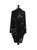 Italian Tie & Dye Plus Size Lagenlook Scarf Dress-Black back