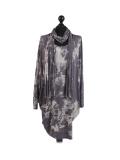 Italian Tie & Dye Plus Size Lagenlook Scarf Dress-Charcoal