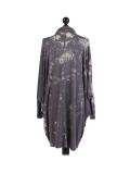 Italian Tie & Dye Plus Size Lagenlook Scarf Dress-Charcoal back