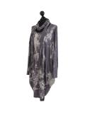 Italian Tie & Dye Plus Size Lagenlook Scarf Dress-Charcoal side