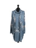 Italian Tie & Dye Plus Size Lagenlook Scarf Dress-Denim