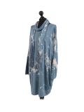 Italian Tie & Dye Plus Size Lagenlook Scarf Dress-Denim side