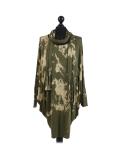 Italian Tie & Dye Plus Size Lagenlook Scarf Dress-Khaki
