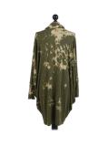 Italian Tie & Dye Plus Size Lagenlook Scarf Dress-Khaki back