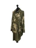 Italian Tie & Dye Plus Size Lagenlook Scarf Dress-Khaki side