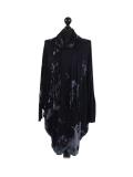 Italian Tie & Dye Plus Size Lagenlook Scarf Dress-Navy