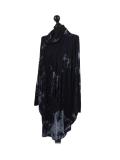 Italian Tie & Dye Plus Size Lagenlook Scarf Dress-Navy side
