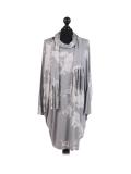 Italian Tie & Dye Plus Size Lagenlook Scarf Dress-Silver