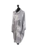 Italian Tie & Dye Plus Size Lagenlook Scarf Dress-Silver side