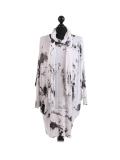 Italian Tie & Dye Plus Size Lagenlook Scarf Dress-white