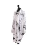 Italian Tie & Dye Plus Size Lagenlook Scarf Dress-White side