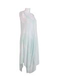 Italian Tie & Dye Strappy Lagenlook Cotton Jumpsuit-Aqua