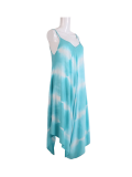 Italian Tie & Dye Strappy Lagenlook Cotton Jumpsuit-azure