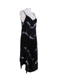 Italian Tie & Dye Strappy Lagenlook Cotton Jumpsuit-Black