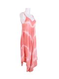 Italian Tie & Dye Strappy Lagenlook Cotton Jumpsuit-Coral