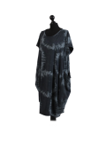 Made In Italy Fossil Print Pocketed Cotton Lagenlook Cocoon Dress-Charcoal side