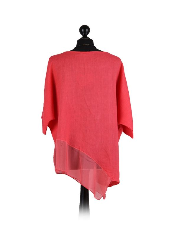 Italian Asymmetric Necklace Embellished Lagenlook Linen Top-Coral back
