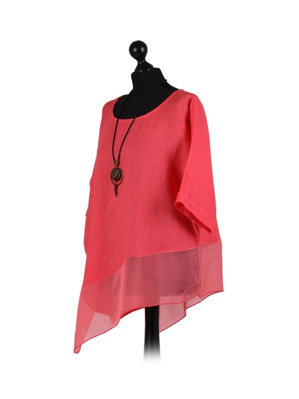 Italian Asymmetric Necklace Embellished Lagenlook Linen Top-Coral side