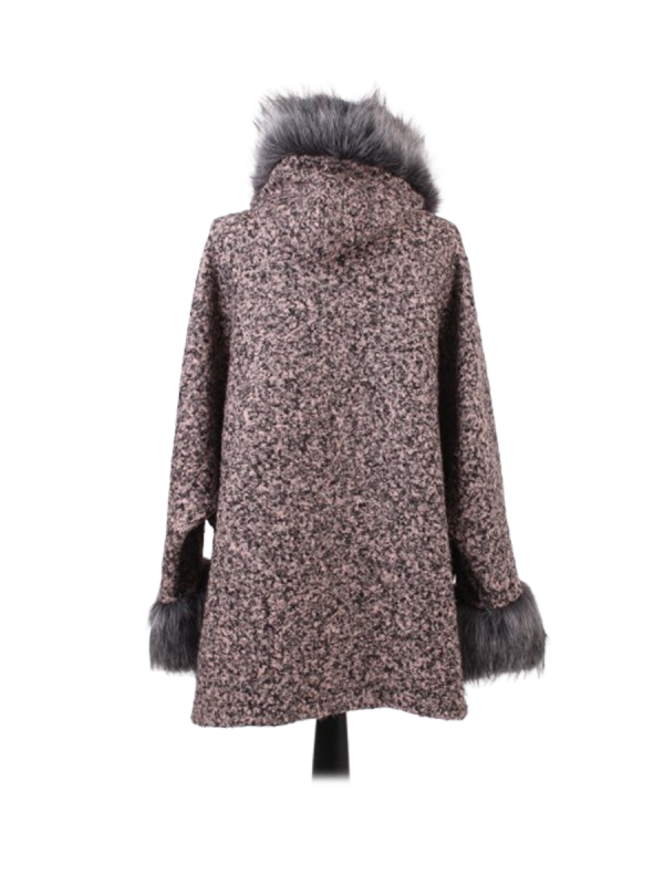Italian Faux Fur Cape And Sleeves Hooded Lagenlook Jacket-Pink back