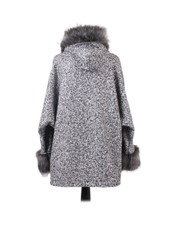 Italian Faux Fur Cape And Sleeves Hooded Lagenlook Jacket-Silver back