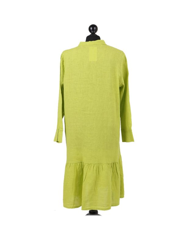 Italian Front Buttons and Pockets Plain Linen Lagenlook Dress-Lime back