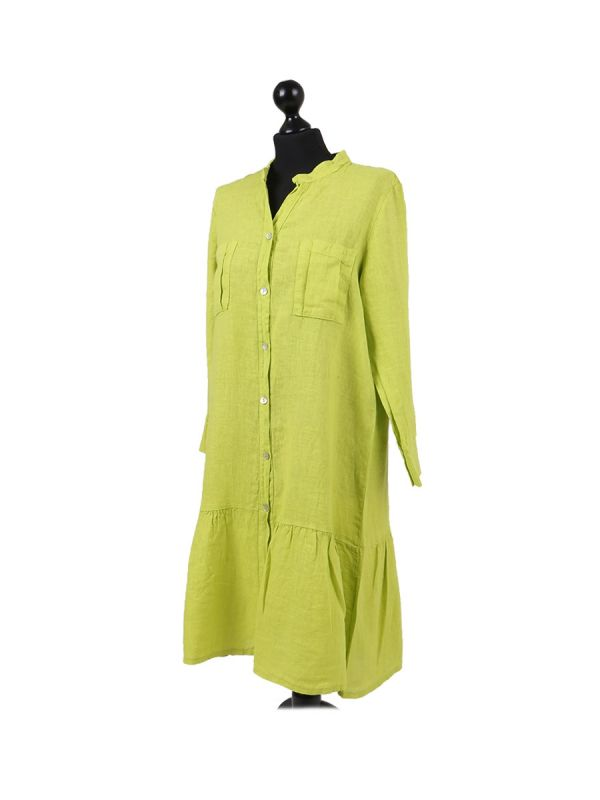 Italian Front Buttons and Pockets Plain Linen Lagenlook Dress-Lime side