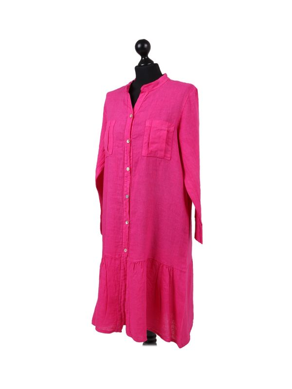 Italian Front Buttons and Pockets Plain Linen Lagenlook Dress-Rose pink side