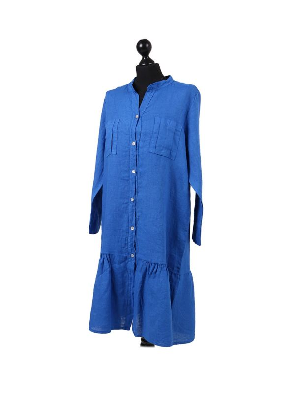 Italian Front Buttons and Pockets Plain Linen Lagenlook Dress-Royal blue side