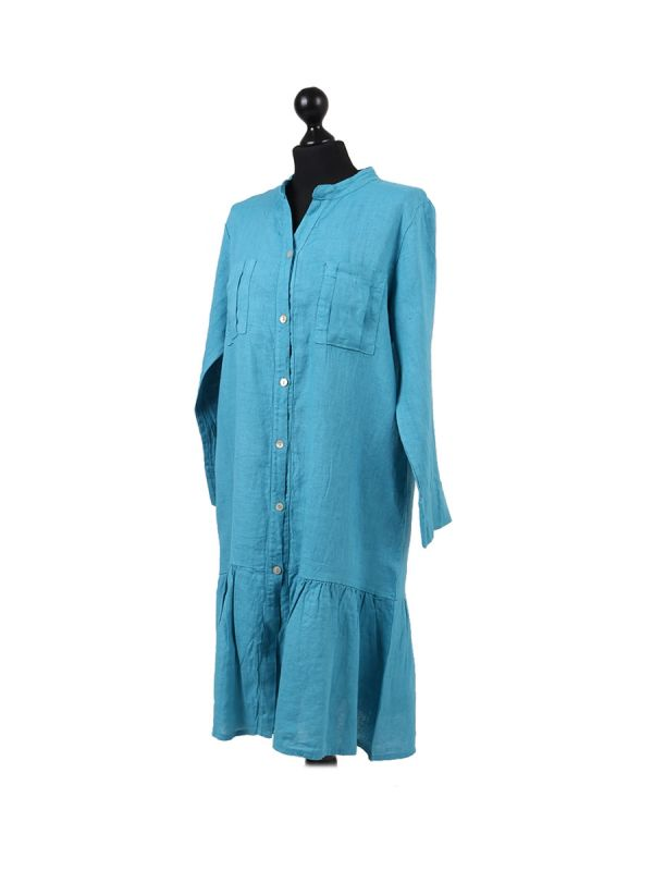 Italian Front Buttons and Pockets Plain Linen Lagenlook Dress-Teal side