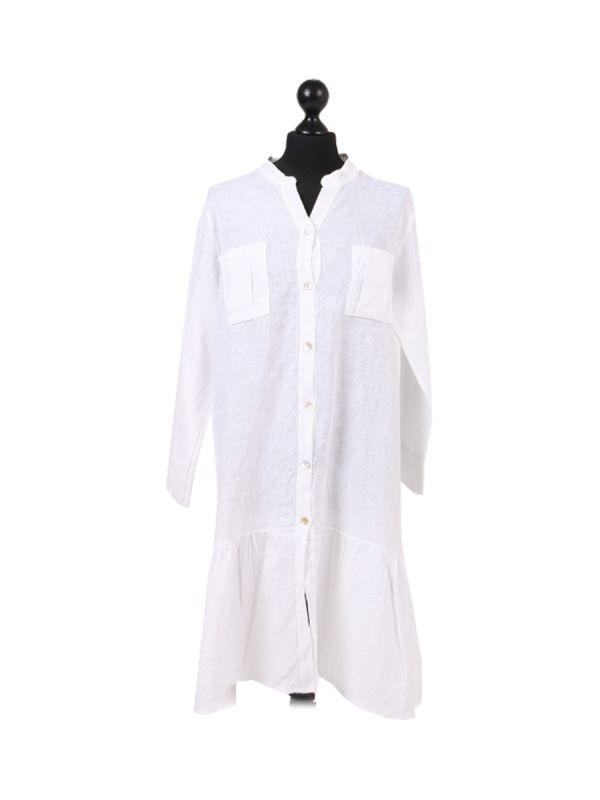 Italian Front Buttons and Pockets Plain Linen Lagenlook Dress-white