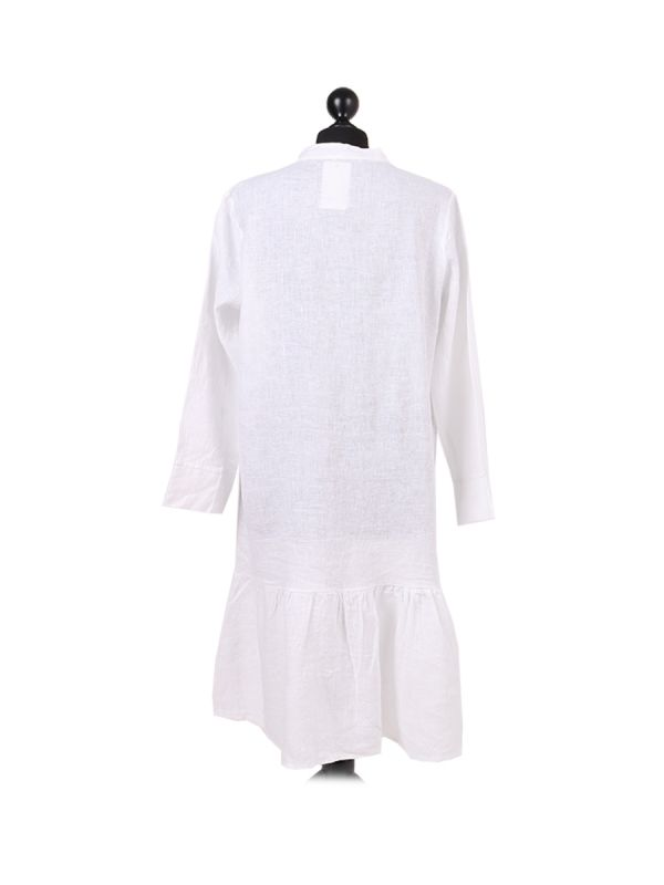 Italian Front Buttons and Pockets Plain Linen Lagenlook Dress-White back