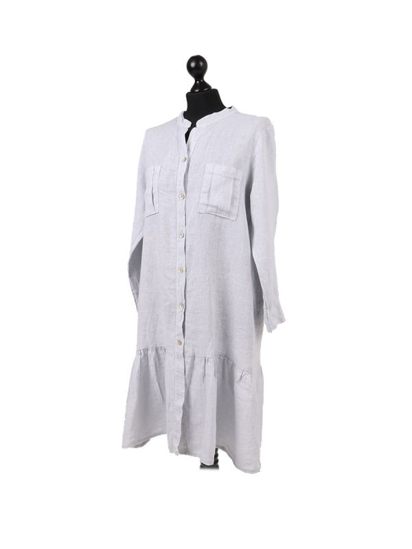 Italian Front Buttons and Pockets Plain Linen Lagenlook Dress-silver side