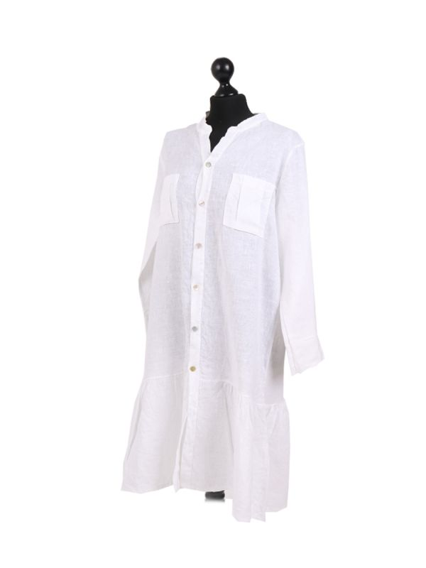 Italian Front Buttons and Pockets Plain Linen Lagenlook Dress-White side