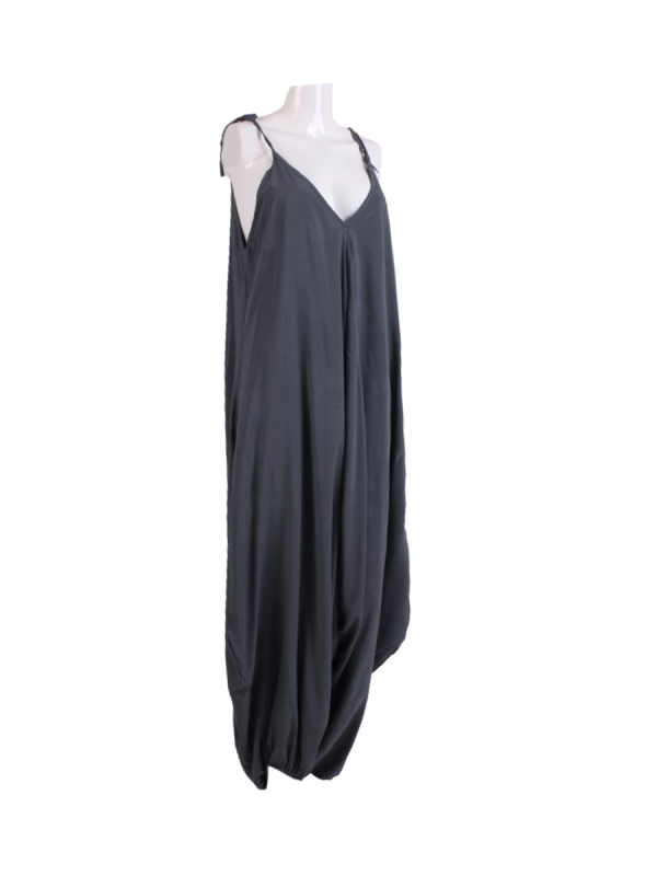 Italian Plain Cami Strappy Side Pocket Lagenlook Jumpsuit-Charcoal