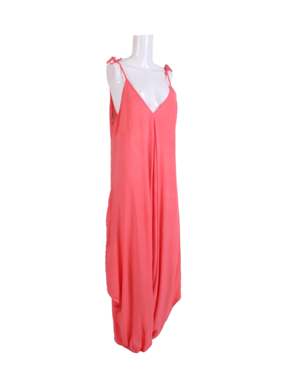 Italian Plain Cami Strappy Side Pocket Lagenlook Jumpsuit-Coral