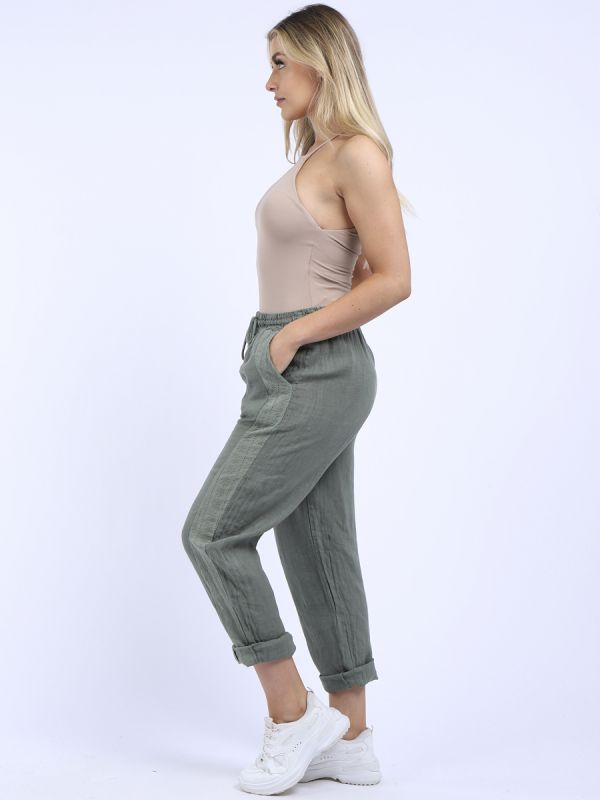 Made In Italy Embroidered Side Panel Linen Trouser