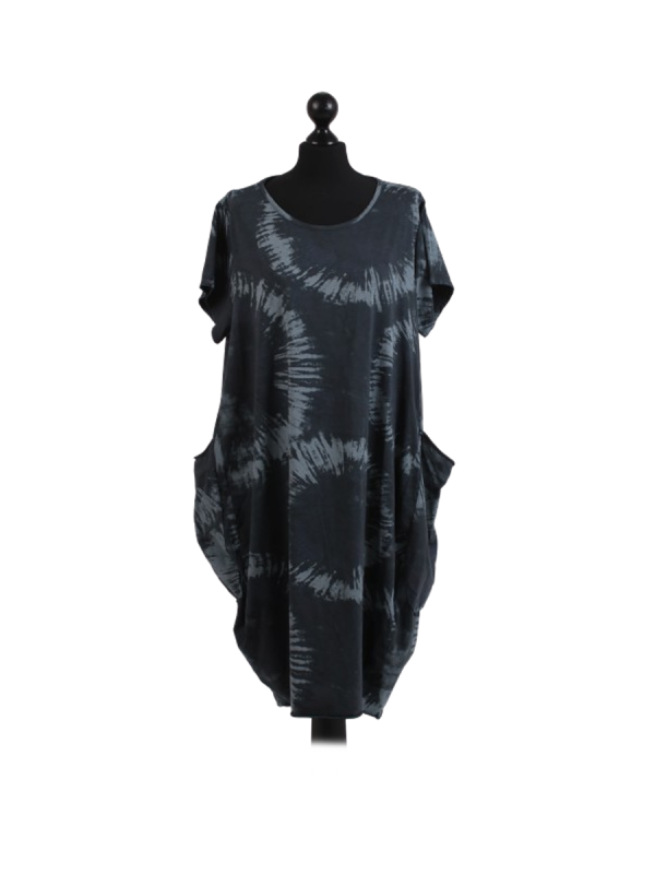 Made In Italy Fossil Print Pocketed Cotton Lagenlook Cocoon Dress-Charcoal