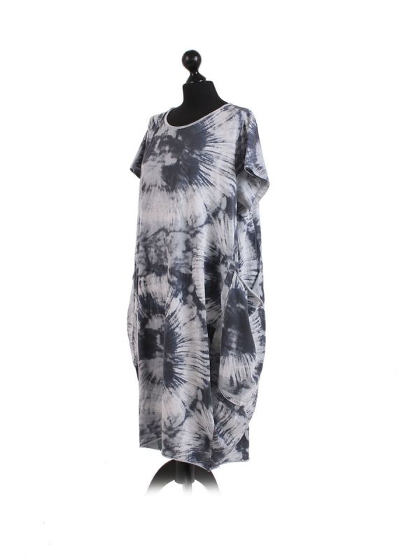 Made In Italy Fossil Print Pocketed Cotton Lagenlook Cocoon Dresss-SIlver side