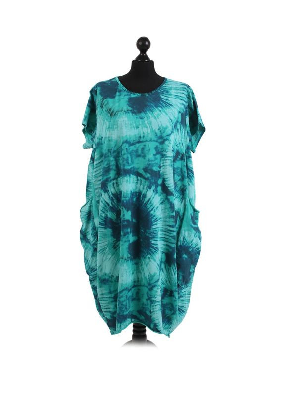 Made In Italy Fossil Print Pocketed Cotton Lagenlook Cocoon Dresss-Aqua