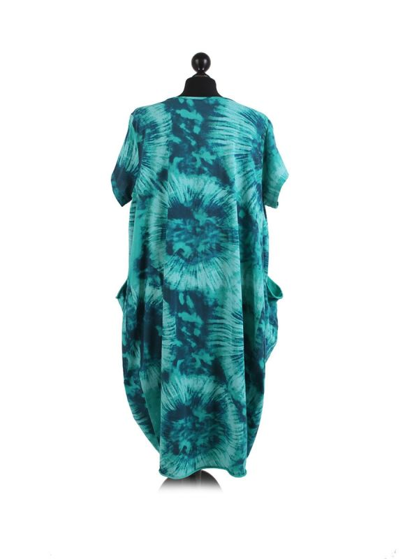 Made In Italy Fossil Print Pocketed Cotton Lagenlook Cocoon Dresss-Aqua back